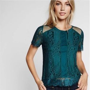 Express Green Lace Top